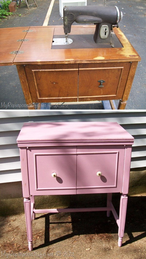 DIY  A Shabby Pink Repurposed Vintage Cabinet Tutorial.