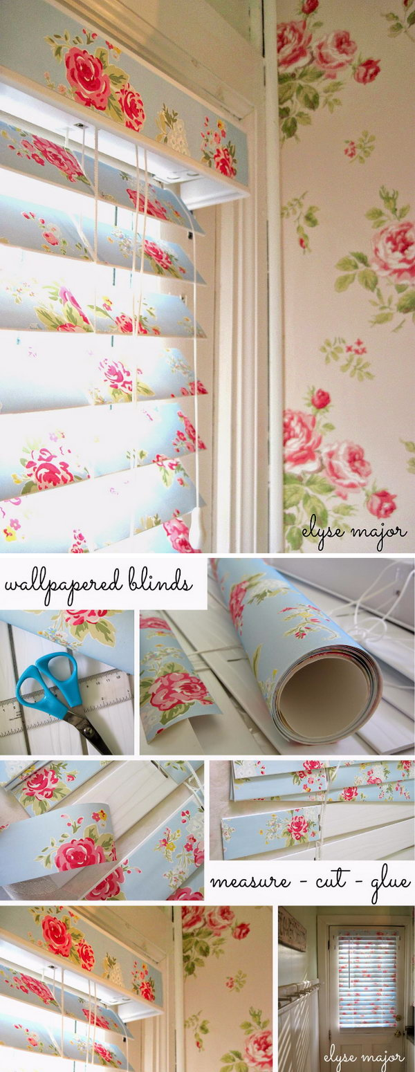 Shabby Chic Wallpaper Covered Blinds.