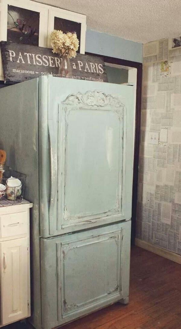 Shabby Chic Refrigerator Makeover