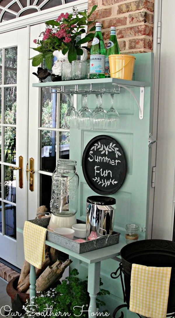 Upcycled Beverage Station From Thrift Shop Door