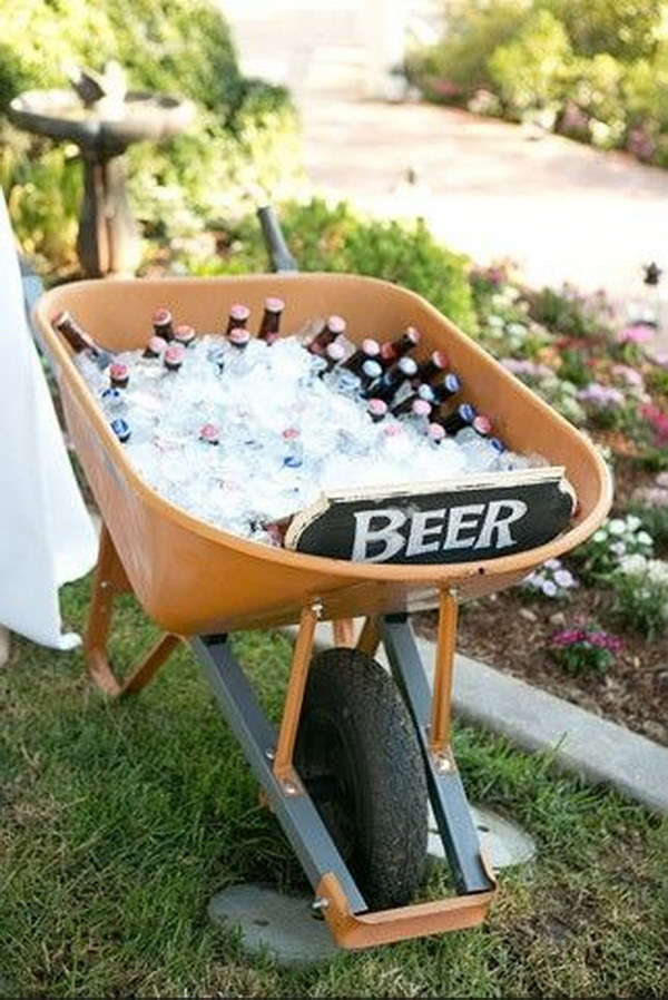 Old Wheel Barrel Drink Station
