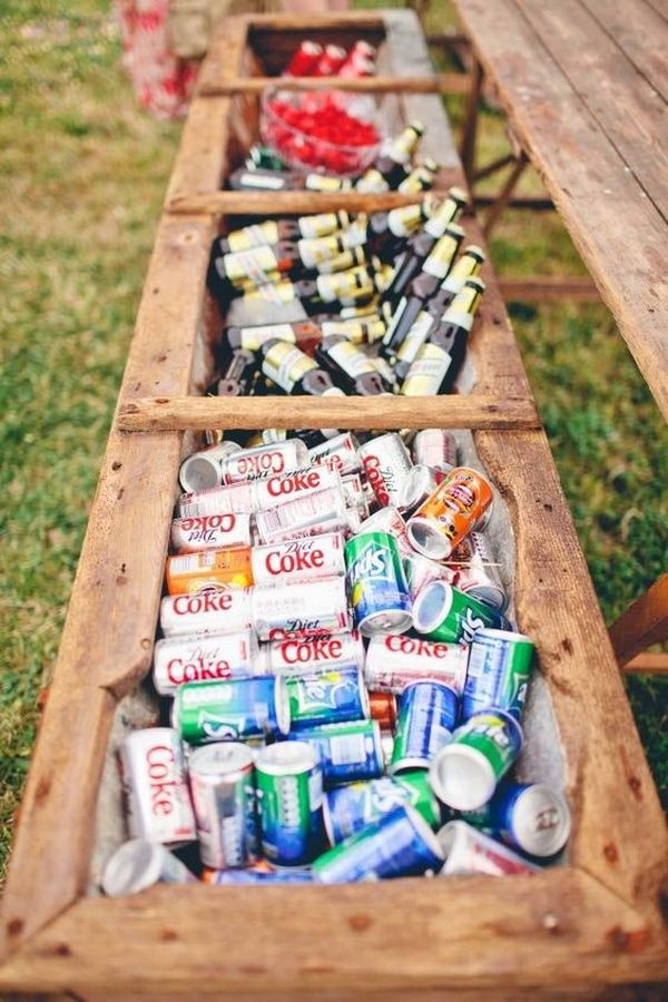 Rustic Flower Box Drink Station