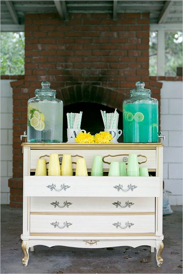 Dresser Turned Drink Station.