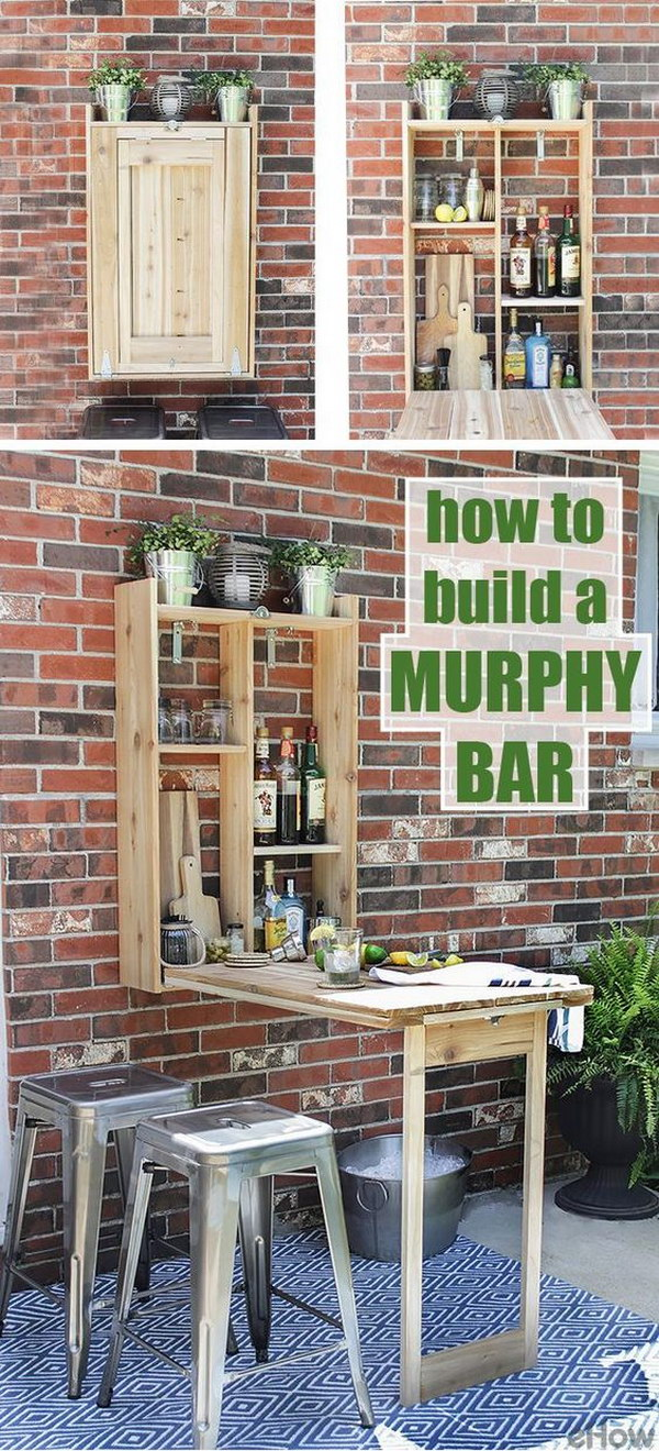 DIY Wall-Mounted Cedar Fold-Down Bar