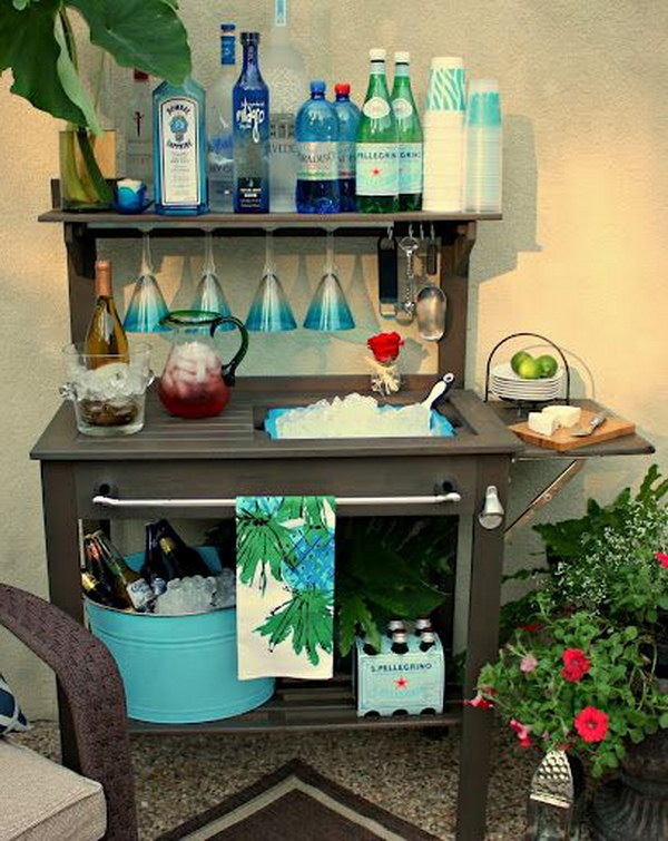 DIY Potting Bench Turned Outdoor Bar