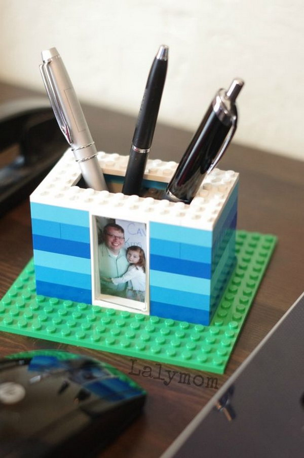 LEGO Photo Pen Holder for Dad. This pen holder is arguably one of the most original gifts you will ever see. It is incredibly awesome not only because it's cute, practical and enjoyable, but also because it is a fun and stimulating project for kids to make.