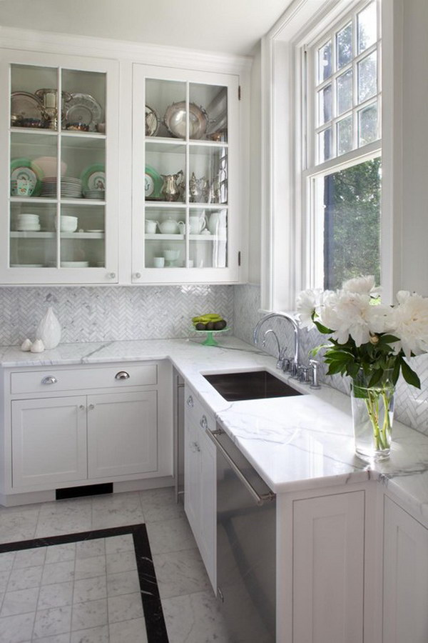Grey and White Carrara Marble Herringbone Tile Backsplash