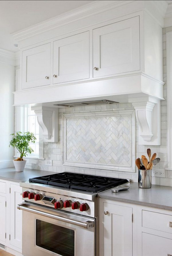 "Herringbone ""Picture Frame"" Edged with a Chair Rail Backsplash"