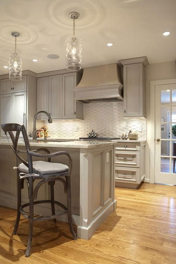 Gray Kitchen with Gray Granite Countertops and White Basketweave Subway Tile Backsplash