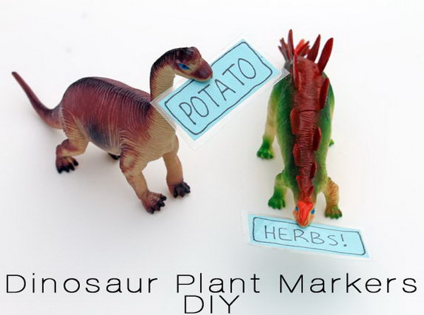 DIY Toy Dinosaur Plant Markers