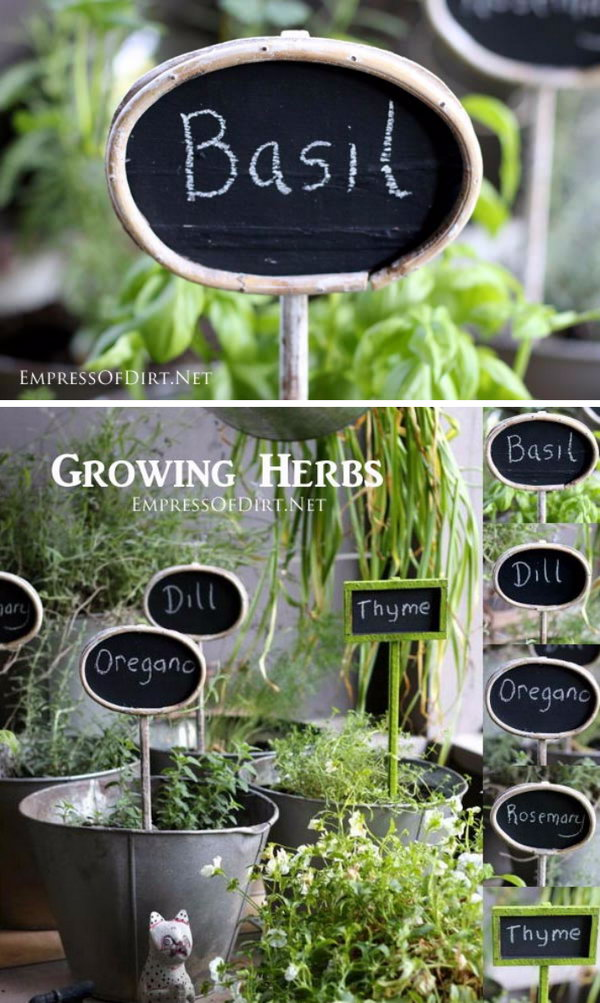 DIY Chalk Painted Plant Markers.