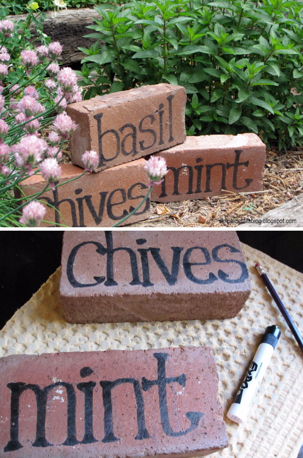 Painted Bricks Garden Markers.