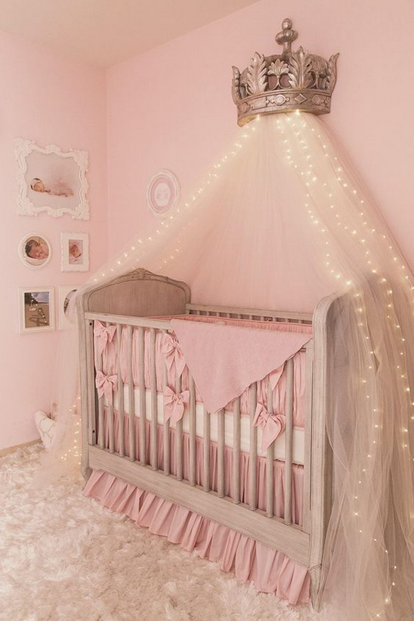 Canopy Bed Crown With Starry String Lights
