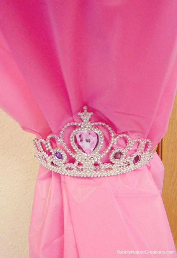 Tie Back Curtains Using Princess Tiaras