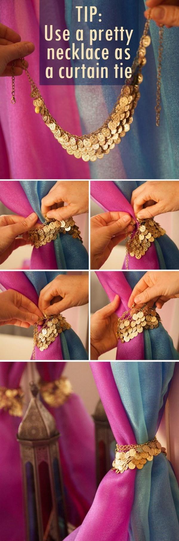 DIY Dresser Mirror Curtain With A Pretty Necklace.