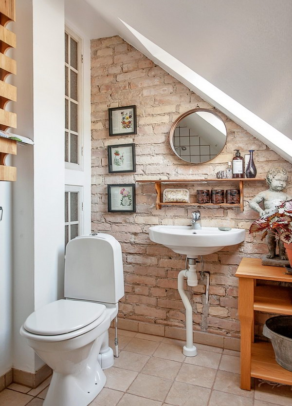 Stylish Small Bathroom With Brick Wall