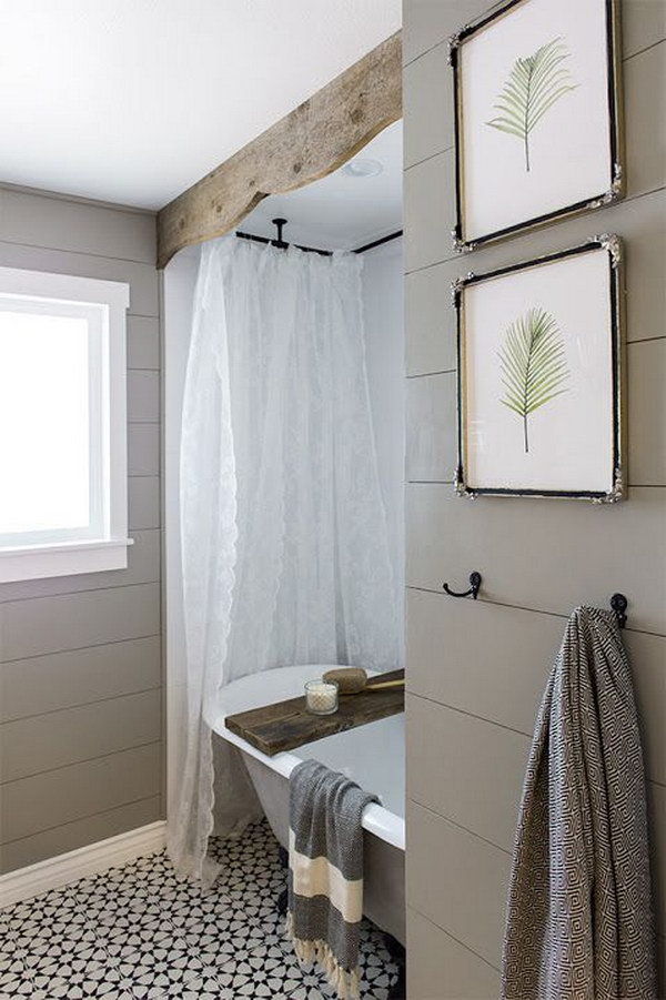 Rustic Wood Valance And Tub Caddy For Bathroom.
