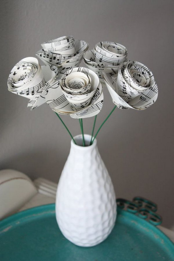 Vintage Music Paper Rosettes In A Bottle For Mother's Day Gift