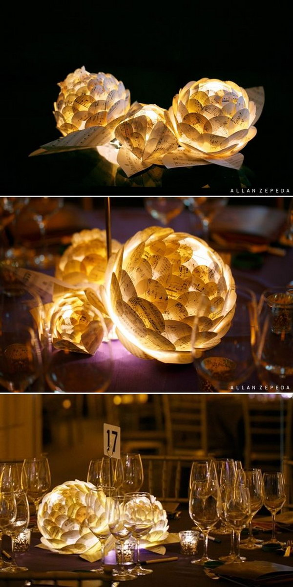 Music sheet flowers with LED lamp inside