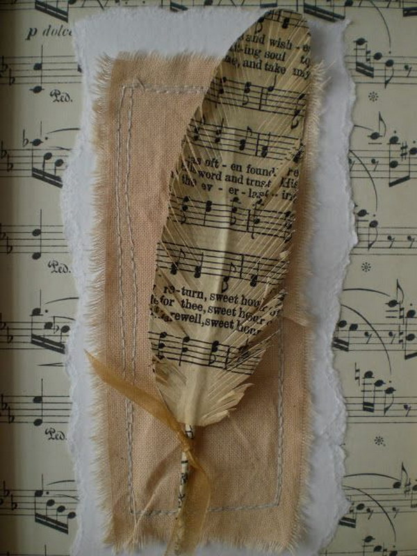 Upcycled Sheet Music Feathers.