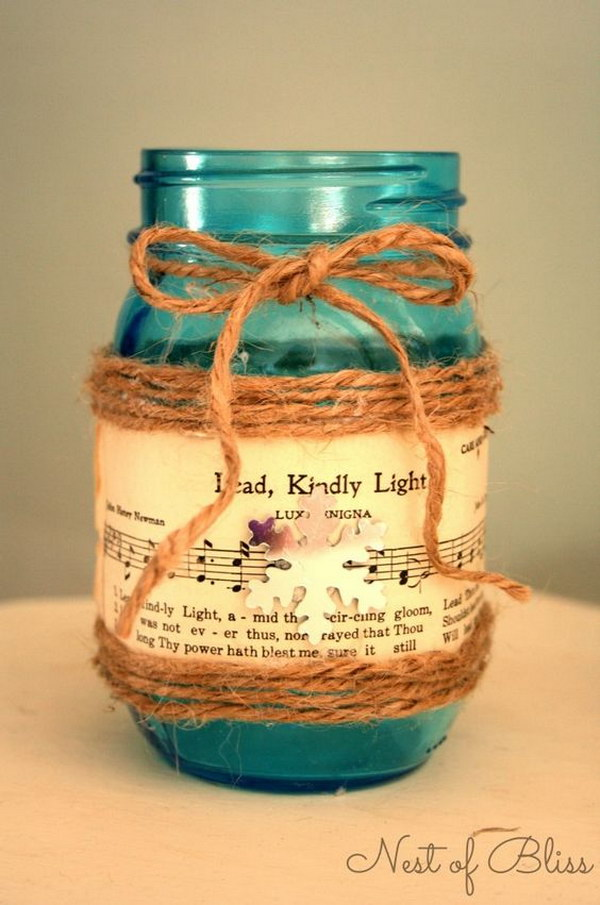 Sheet Music Mason Jar Candle.