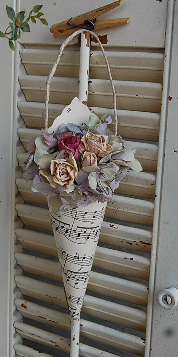Vintage Paper Hymnal Sheet Music Cone with Dried Hydrangea & Roses