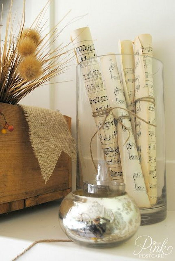 Pages From Old Hymn Books Rolled And Ties With Twin And Placed In A Vase.