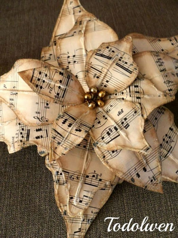 Vintage Sheet Music Flower.