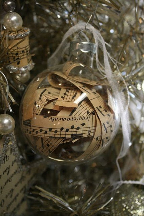 vintage sheet music filled ornament