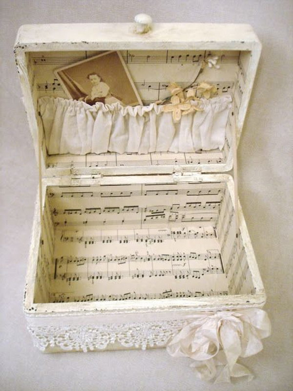 Shabby Suitcase Decorated With Sheet Music.