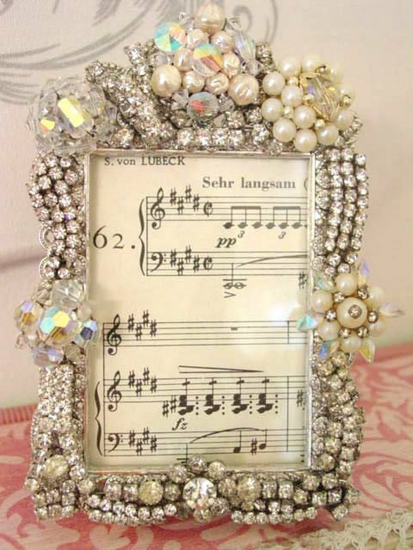 Frame of Vintage Jewelry Sheet Music.