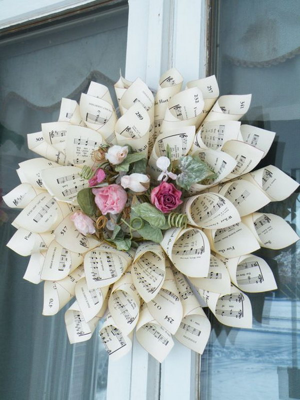 Hymnal Paper Cone Wreath.