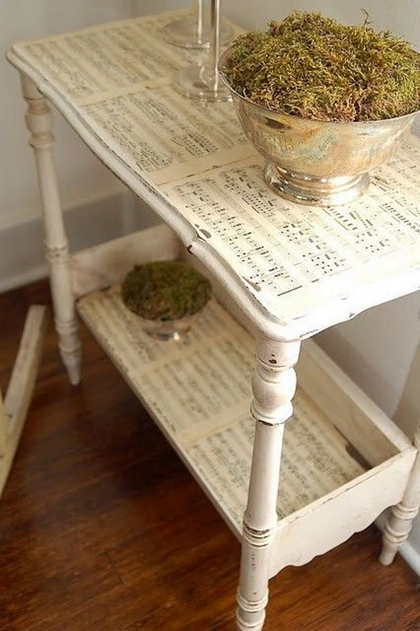 decoupage ideas for furniture. unique decoupage beautiful ivory sheet music decoupage table for ideas furniture a