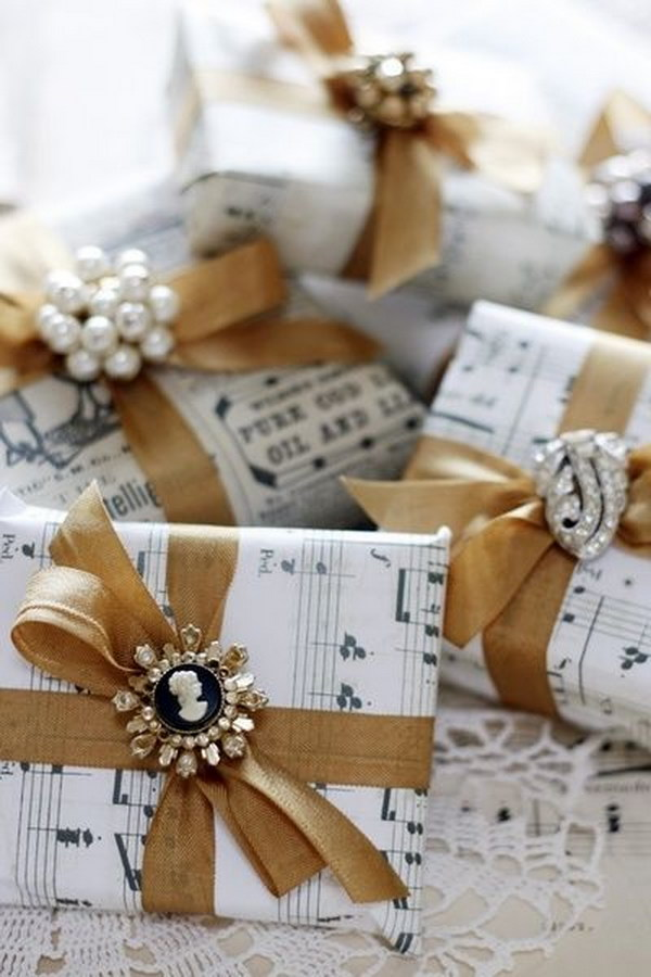 Vintage Gift Wrapping With Sheet Music And Broken Jewelry.
