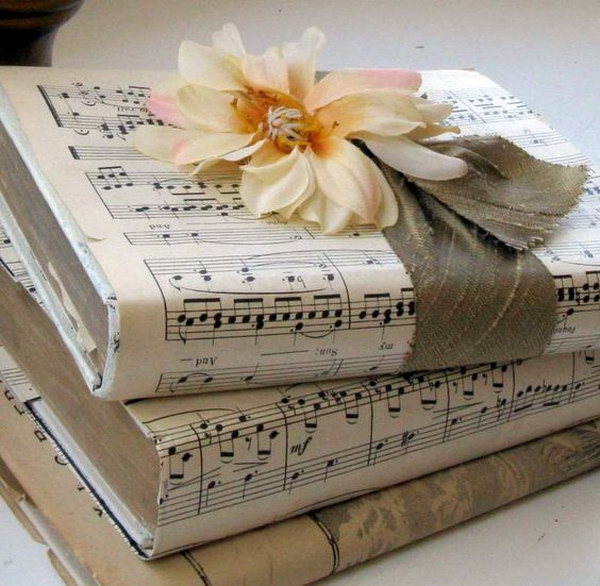 Old Book Cover Ideas : Easy to make romantic sheet music decorating projects diy
