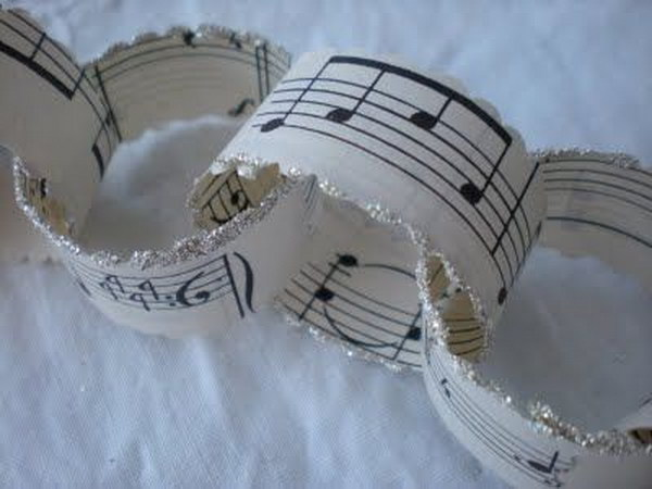 Chain Garland Made From Old Sheet Music Scraps.