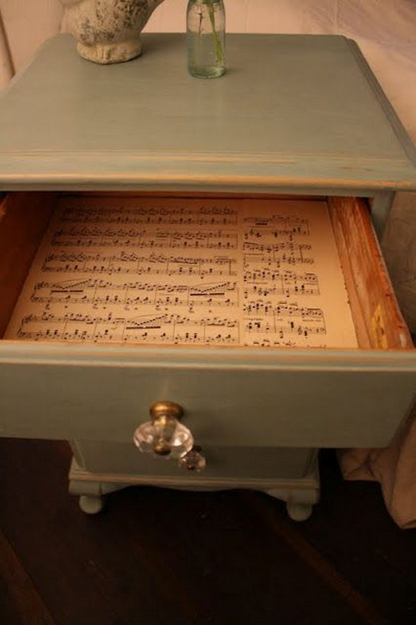 Vintage Music Sheets Line The Drawers.