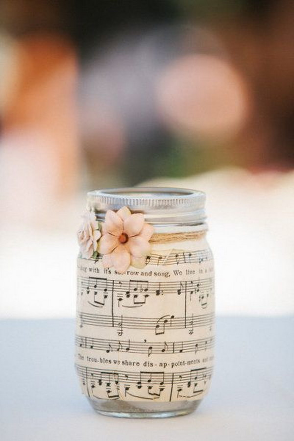 DIY sheet music mason jar