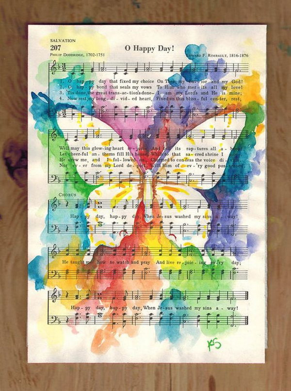 Easy to make romantic sheet music decorating projects diy vintage butterfly watercolor painting on vintage upcycled sheet music gumiabroncs Gallery