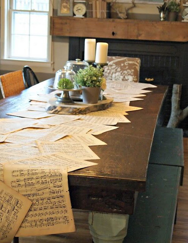 Vintage Music Sheets Used To Line A 10' Table As A Runner.