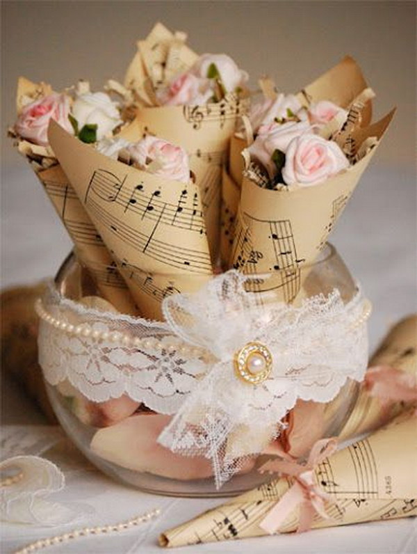 Vintage Music Sheet Rose Cones.