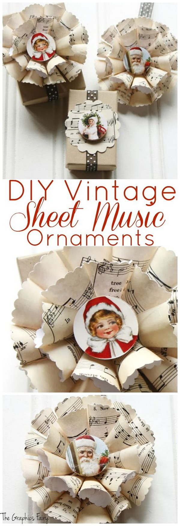 DIY Vintage Sheet Music Ornaments  GIFT WRAPPER