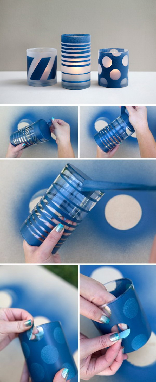 DIY Spray Painted and Frosted Glass Jars.