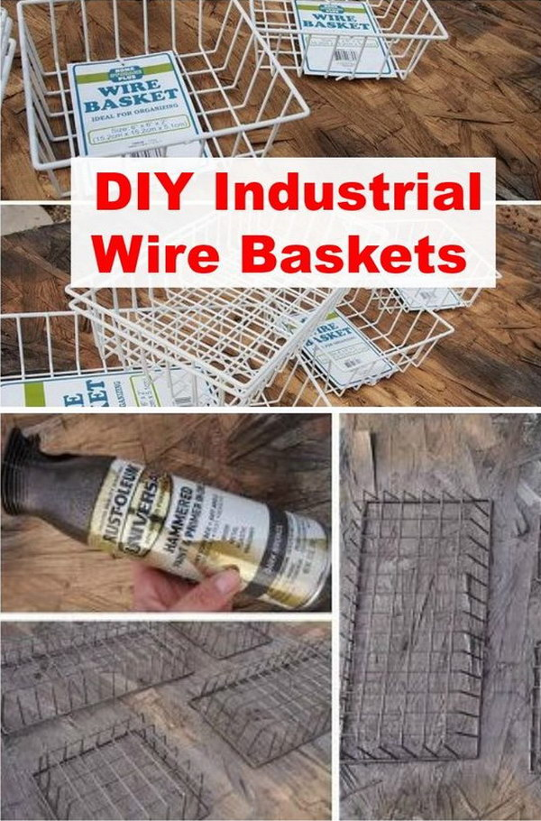 DIY Industrial Wire Basket.