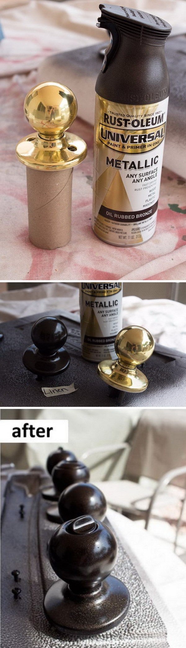 Dated Metal Doorknobs Makeover with Paint.