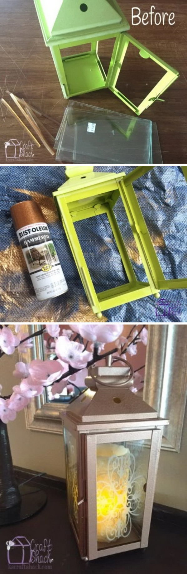 Thrift Store Lantern Makeover with Gold Spray.