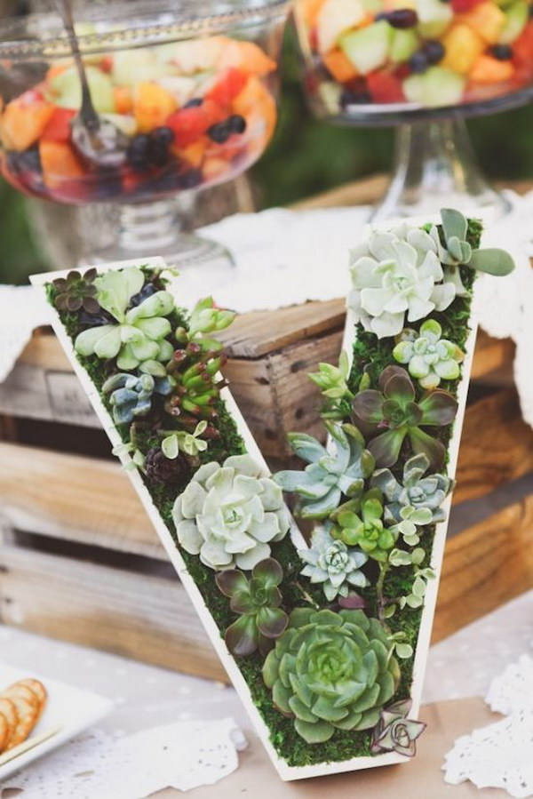 Succulent Monogram Wedding Decor.