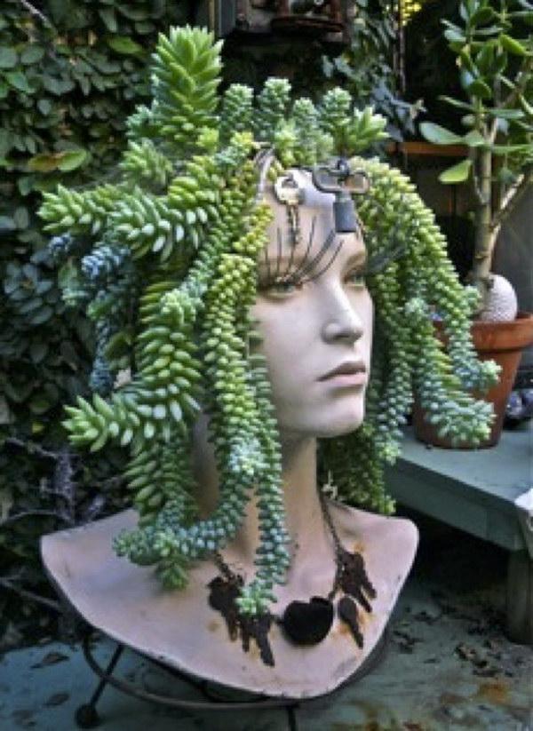Mannequin Head Succulent Planter .