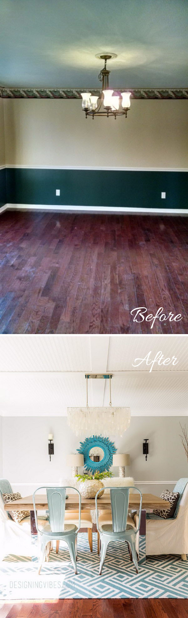 Rustic Coastal Dining Room Before and After.