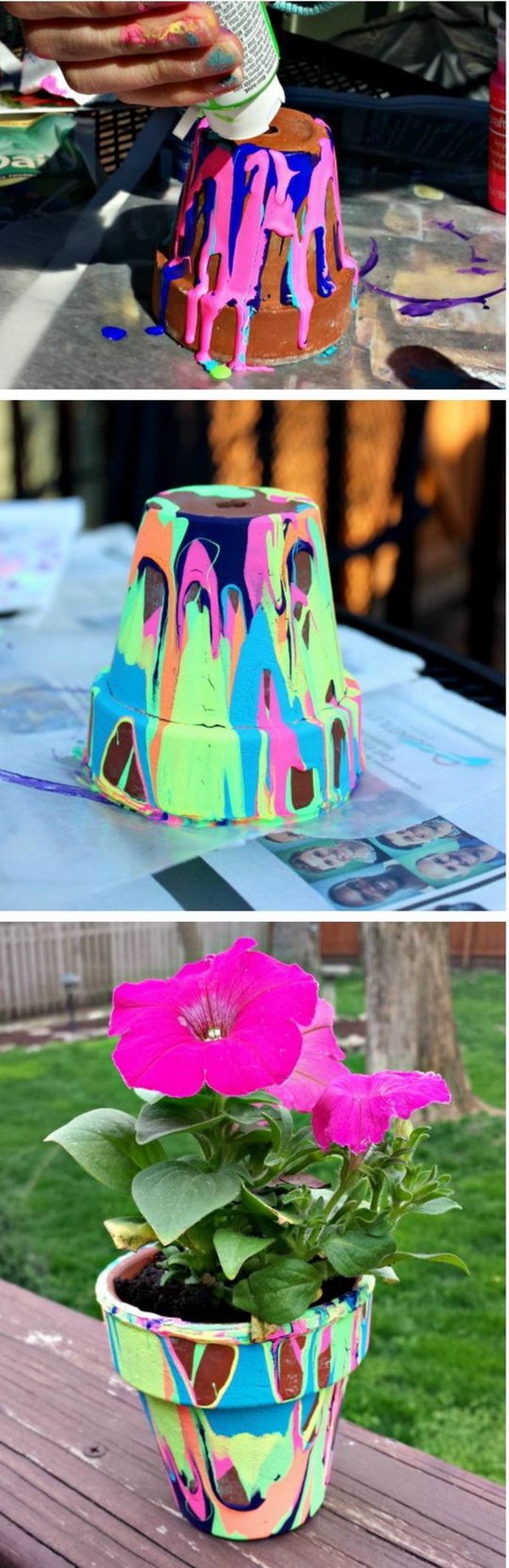 Rainbow Painted Flower Pots